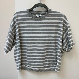 Topshop Boxy Cropped Tee - Grey Stripe - Small